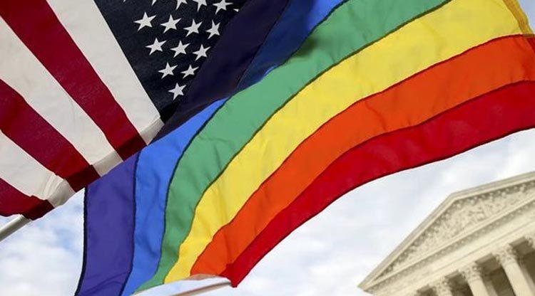U.S. and LGBTI flags