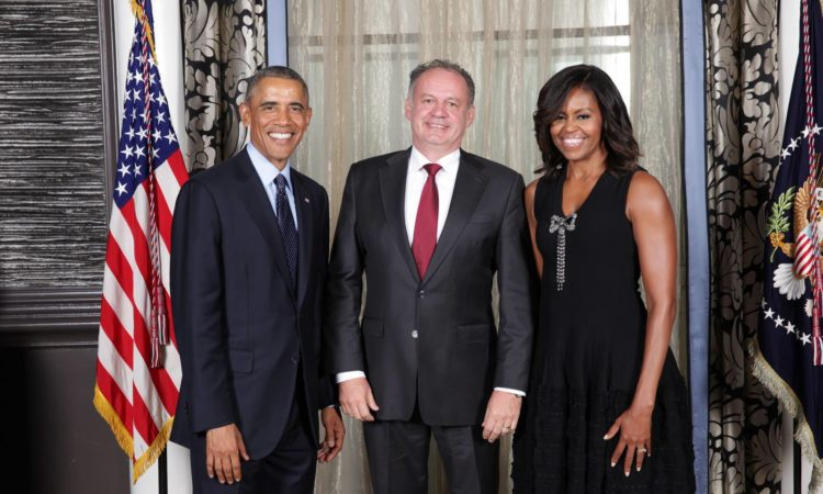 U.S. President Barack Obama, Slovak President Andrej Kiska and U.S. First Lady Michelle Obama (The White House photo)