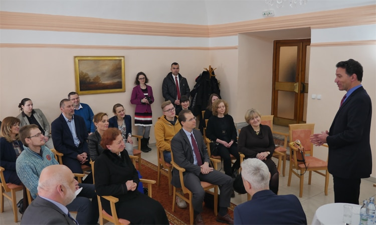 Ambassador Adam Sterling at Town Hall on His Recent Visit to Central and Eastern Slovakia (Embassy photo)