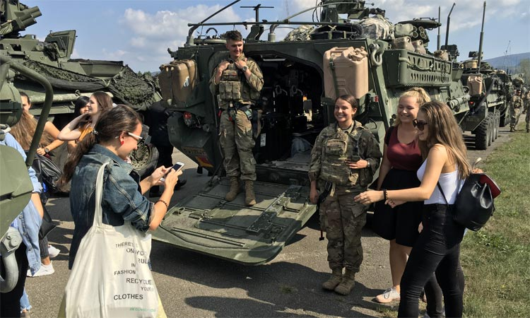 Slovak high school students visit with U.S. troops at Kuchyna Airfield in western Slovakia (Embassy photo)
