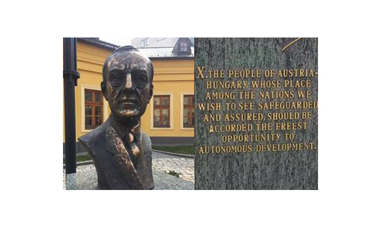 The newly unveiled bust of President Woodrow Wilson on Ministry of Foreign Affairs Grounds (Embassy photo)